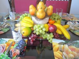 arranjo com peras e uvas