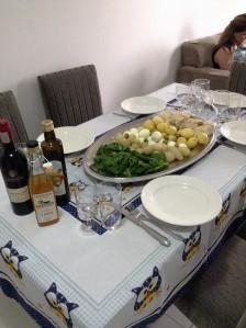 na mesa
